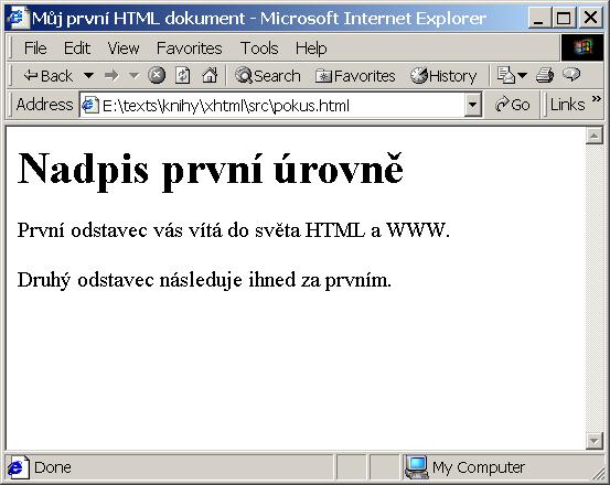 Zobrazení naší první stránky v Internet Exploreru fdad53f43f